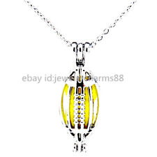 L176 Bright Silver American Sports Football Locket Necklace Beads Cage Pendant