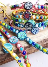 Cotton Friendship Bracelets Beaded Wristband Multi Colour Wholesale Lot of 6