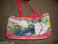 Sasha roomy faux leather tote bag handbag with colorful birds & orange trim NWT