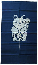 "Japanese Noren Curtain Home Business Tapestry 60""L Indigo Maneki Neko Lucky Cat"