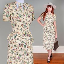 Vintage 1930s 30s silk cream floral dress with peplum detail - XS to SM