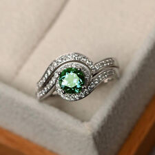 2.50 ct Round Cut Green Moissanite 925 Sterling Silver Engagement Ring