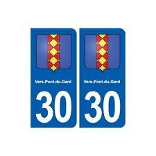 30 Vers-Pont-du-Gard blason ville autocollant plaque stickers droits