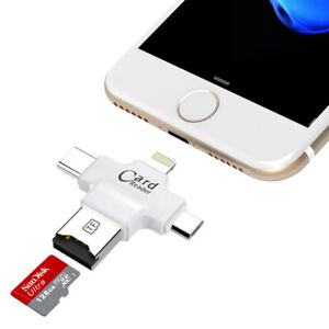4 in 1 Micro SD USB Card Reader OTG for iPhone with Type C Micro USB Connector