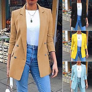 Womens Long Sleeve Blazer Suit Work Jacket Office Plain Collar Formal Coats UK