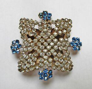 Antique Hatpin Large Brilliant Blue Rhinestone Snowflake