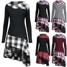 Women Hooded High Low Asymmetric Hem Long Sleeve Sweatshirt Lace Up Dress Tunic