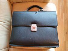 Mens Louis Vuitton Taiga Black Document Brief Serviette Case 100% Genuine LARGE