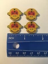 4 Adorable Wooden Monkey Buttons