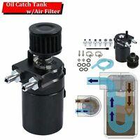 BLACK OIL CATCH TANK RESERVOIR BREATHER CAN W/ FILTER CYLINDER ALUMINUM ENGINE
