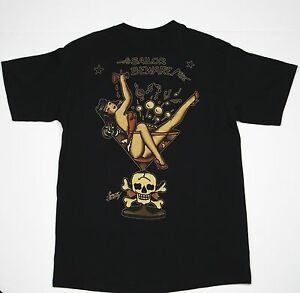 SAILOR JERRY RUM MARTINI GIRL PARTY TATTOO NORMAN COLLINS POCKET T SHIRT S-2XL