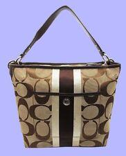 COACH 10055 HAMPTONS WEEKEND Signature Stripe Shoulder Bag Msrp $228 *FREE S/H*