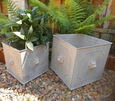 Ensemble de deux pot fleurs LION métal style maison Campagne Décoration jardin
