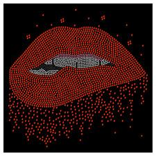Lips Biting Sexy Kiss Love Smile Smiling Rhinestone Hot Fix Iron On Transfer