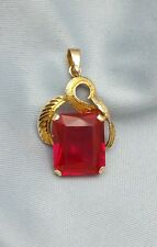 14K Yellow Gold Charm With Red Stone