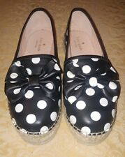 c130d85896e8 KATE SPADE Black White Polka Dot Leather Linda Platform Espadrille Size 8M