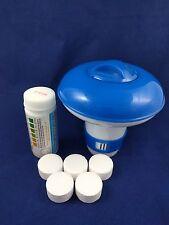 5 x 20g Chlorine Tablets Pool Hot Tub Spa + Dispenser + Testing strips FULL KIT!