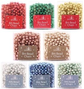 8m Luxury Christmas Tree Decoration Pearl Bead Garland/Chain,Rose Gold,Silver