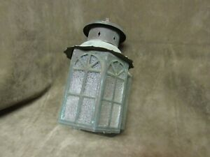 Vintage Storybook Cottage Fairy Tale House Porch Light Brass w/Textured Glass