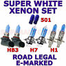 FITS MG TF CABRIO 2002+ SET OF H1  HB3  H7 501 XENON  SUPER WHITE LIGHT BULBS