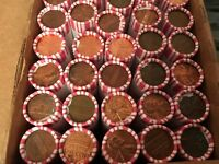 Unsearched 25 rolls LINCOLN CENTS 1250 PENNIES, Some COPPER BULLION PENNIES