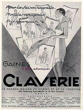 PUBLICITE CLAVERIE GAINE CORSET CEINTURE SIGNE GEORGES BOURDIN DE 1936 FRENCH AD