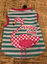 "PET SPIRIT Aqua Stripe Pink Flamingo  ""SUPER CUTE"" T-Shirt  Puppy/Dog  small"