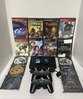 Black PlayStation 2 PS2 Slim Bundle 14 GMs (2 NEW) 2 Cons 2 Memory Cards & Cords