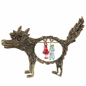 red riding hood wolf brooch Metal Pin Badge suit story book badge mother day UK