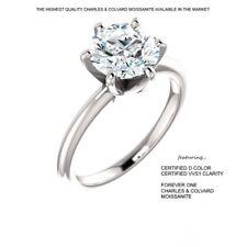 1.00 Carat (6.5mm) D VVS1 CERTIFED Moissanite Ring in 14K Gold Charles & Colvard