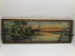 """Antique Painting Print With Gold Frame 15x5.5"""""""