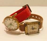 Vintage Girls Plastic Toy Watch's By W & W Set Of 2 Free Shipping