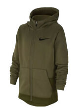 New Boys Nike Elite Therma Fiull Zip Hoodie Olive Green Total Orange Size XL