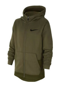 New Boys Nike Elite Therma Fiull Zip Hoodie Olive Green Total Orange Size XL