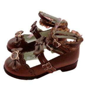 Damen Pumps Lolita Mary-Jane Cosplay Schleife Knöchelriemen Elegant Schuhe Neu D