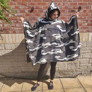 Arctic Camouflage Fleece Hooded Blanket Poncho / Camp Blanket
