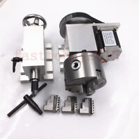 A-axis 4th-axis CNC Router Rotational Rotary Axis + Tailstock Chuck 100mm 3-Jaw