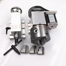 NEMA23 CNC Router Rotary Rotational 4th Axis Hollow Shaft 3 Jaw 100mm Tailstock