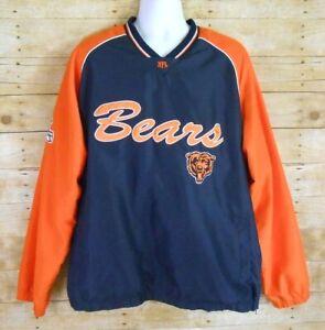 Chicago Bears NFL Pullover Jacket Men's XL Blue Orange Lined 1/2 Side Zip G-III