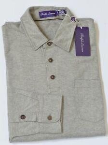 New $395 Ralph Lauren Purple Label Men Pima Cotton Long-Sleeve Pocket Polo Shirt