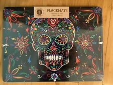 Set Of 4 Benson Mills Halloween Colorful Skull Cork Placemats NEW