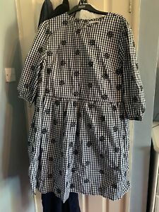 Tesco F&F Floral Gingham Print Navy And White Dress Size 18 BNWT