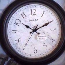 "Wall Clock W/ Glass Lens & Metal Hands Black 10"" Sharp  Includes Shelf word HOME"