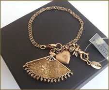 NEW PILGRIM GOLD PLATED BRACELET SWAROVSKI CRYSTAL ENAMEL PENDANT HEART LOCKET