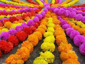10 PC Indien Artificial Marigold 5 feet Garlands Home Party Wedding Decoration