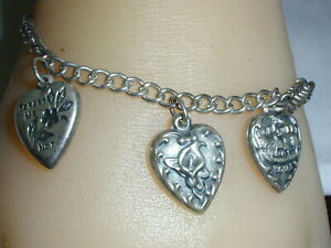ANTIQUE STERLING CHARM BRACELET WITH 3 PUFFED HEART CHARMS!