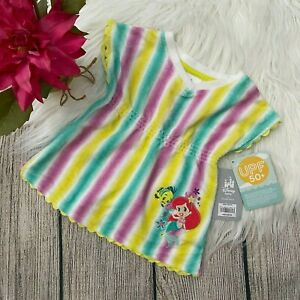 NWT multi-color DISNEY Baby Ariel striped swim cover top baby Girl's 3-6 months