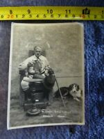 Vintage Uncle Tom Cobley's Original Chair POSTCARD Moustachioed Man + Collie Dog