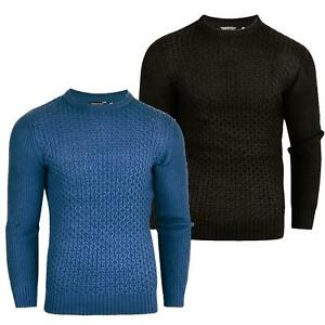 Mens Crosshatch High Quality Cotton Cable Knit Jumper Pullover Winter Sweater