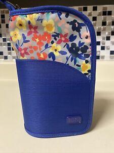 Lug Travel CANOE Make-up Brush Holder Case Floral Blue Organizer Pouch Bag Tote